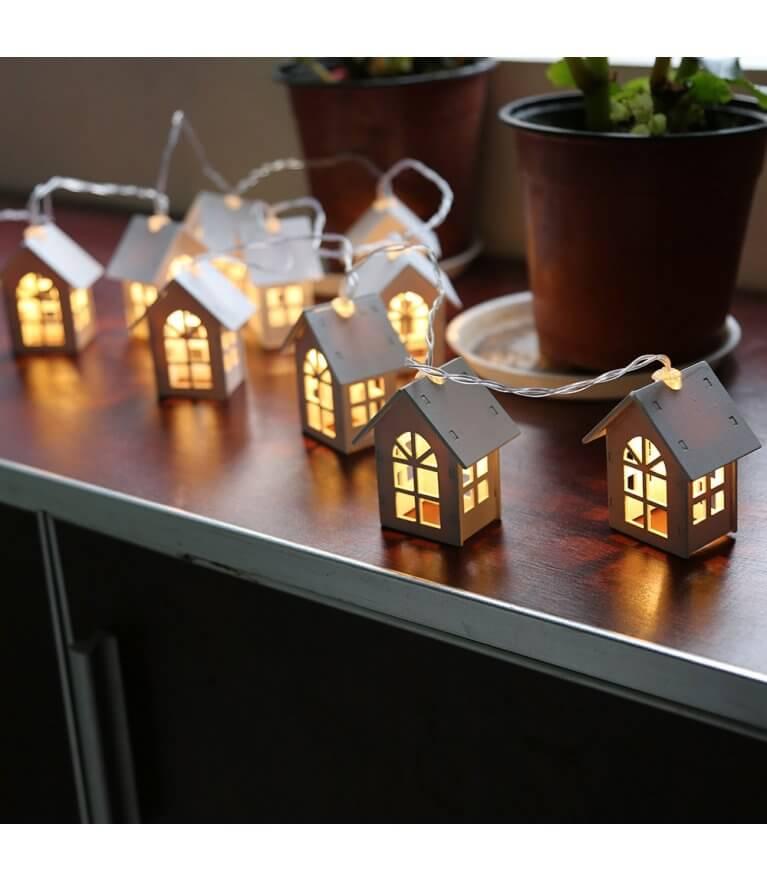 """Гирлянда """"Домики"""" LED на батарейках"""